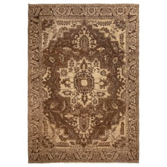Antique Heriz Brown Medallion Rug with Geometric-Floral Patterns