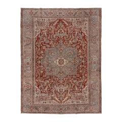 Antique Heriz Carpet, Red Field, Light Blue Medallion, Light Blue Borders