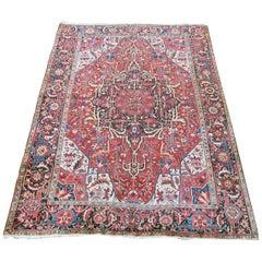 Antique Heriz Carpet with Striking Skeletal Deign