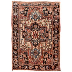 Antique Heriz Handmade Wool Rug