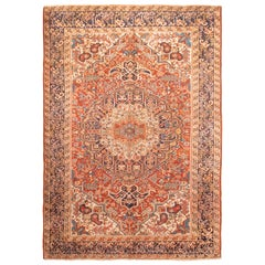 Antique Heriz Persian Red and Blue Wool Rug
