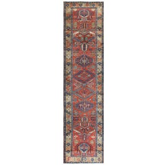 Antique Heriz Persian Runner Rug. Size: 3 ft 8 in x 14 ft 8 in (1.12 m x 4.47 m)