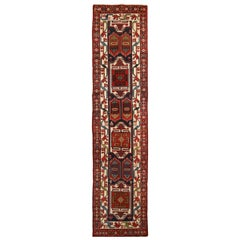 Antique Heriz Red and Blue Geometric Persian Wool Runner