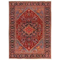 Antique Heriz Red and Blue Handmade Wool Rug