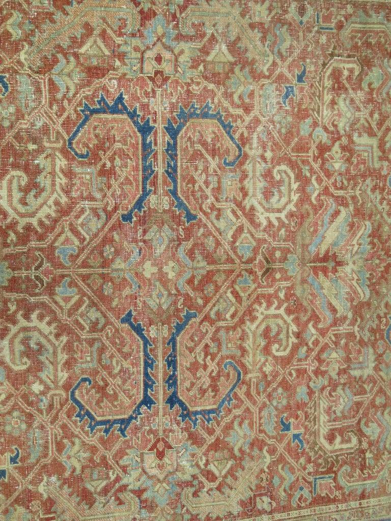 Rustic Antique Heriz Rug For Sale