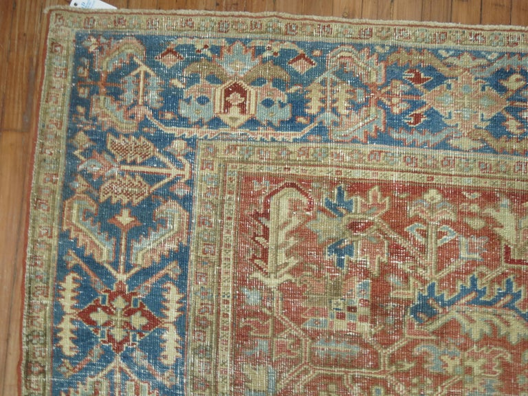 Hand-Knotted Antique Heriz Rug For Sale