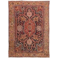 Antique Persian Heriz Blue Handmade Wool Rug
