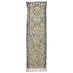 Antique Heriz Runner with Geometric Central Medallions in Tan, Blue & Brown
