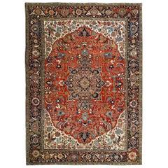 Antique Heriz Serapi Rug Carpet, circa 1890