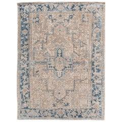 Antique Heriz Shabby Chic Beige and Blue Handmade Wool Rug
