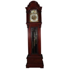Antique Herschede Carved Mahogany Moon Phase & 9-Tube Long Case Clock circa 1900