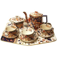 Antique Hexagonal Old Derby Imari Tea Set