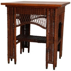 Antique Heywood Wakefield Arts & Crafts Wicker and Oak Lamp Table, circa 1910