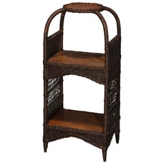 Antique Heywood Wakefield Oak and Wicker Plant Stand, circa 1890