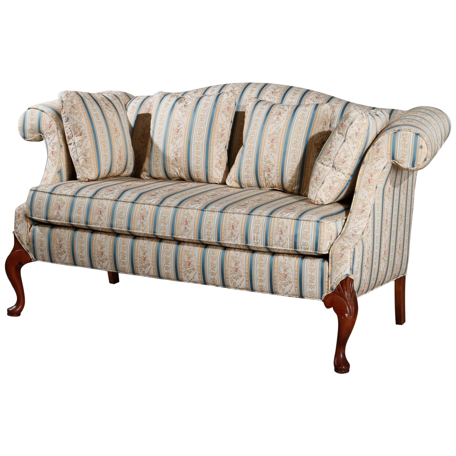 Antique Hickory Furniture Company Queen Anne Mahogany Settee, 20th Century