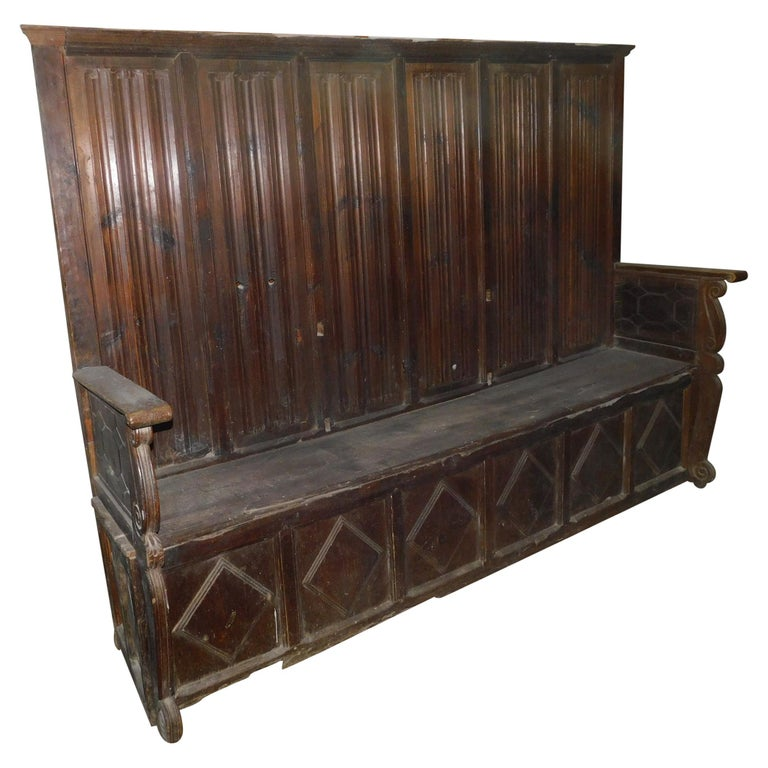 Antique High Back Bench, Red Larch Wood, Hand Carved with Lozenges, 1500 Italy For Sale