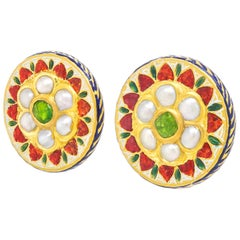 Antique High Karat Gold Enameled Mughal Earrings