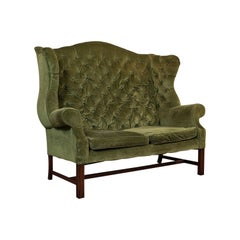 Antique High Wing-Back Settee, English, Sofa, Love Seat, Edwardian, circa 1910