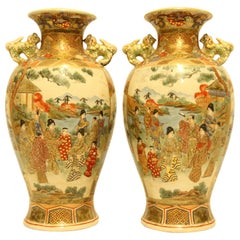 Antique Highly Decorative Pair of Japanese Satsuma Vases, circa 1910