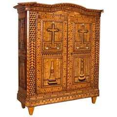 Antique Highly Inlaid Marquetry 2-Door Armoire