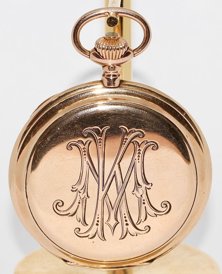 Antique, historical IWC Hunter Pocket Watch. 14 Karat yellow Gold.  All three lids in 14 Karat solid gold.  Dial has a hairline crack between 7 and 8 o'clock.  Manual wind works. Time setting works. Watch works fine.  Good condition due to age.