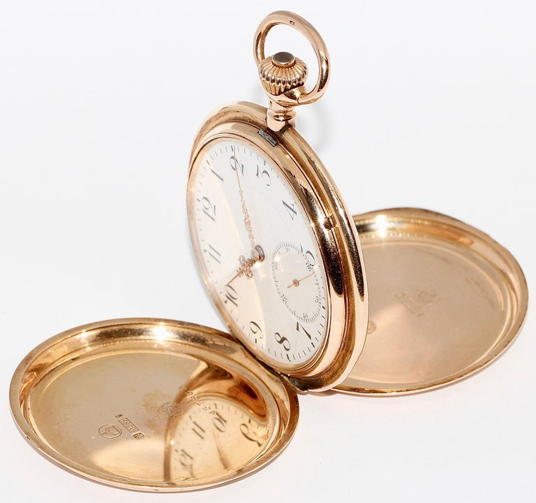 Women's or Men's Antique, Historical IWC Hunter Pocket Watch, 14 Karat Yellow Gold For Sale