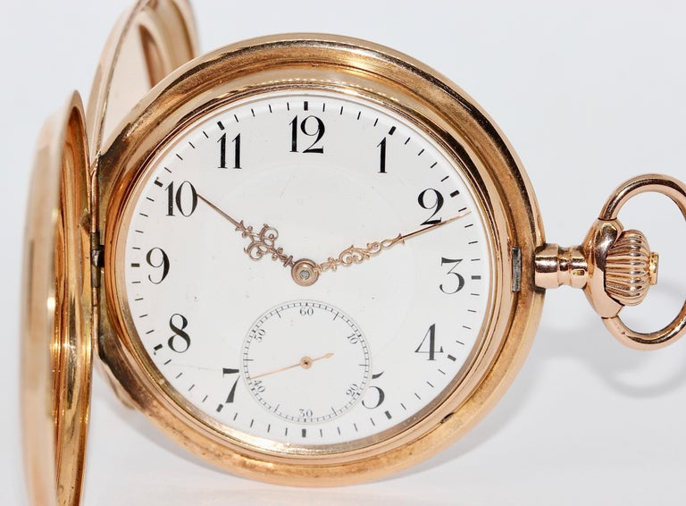 Antique, Historical IWC Hunter Pocket Watch, 14 Karat Yellow Gold For Sale 1