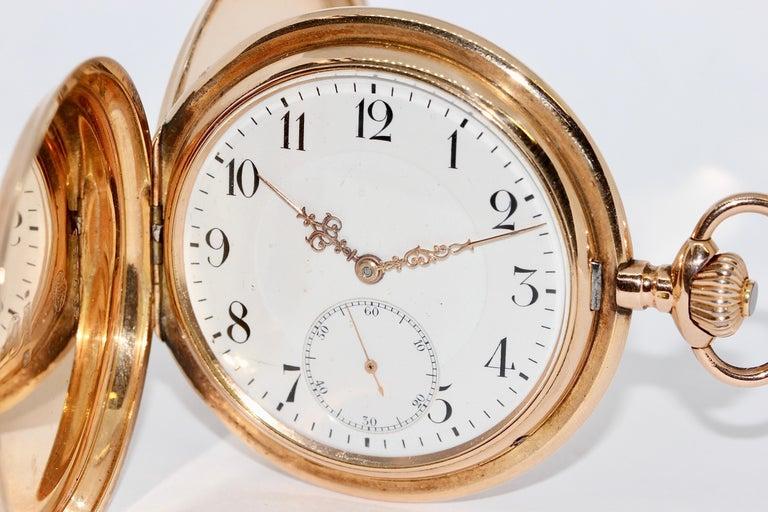 Antique, Historical IWC Hunter Pocket Watch, 14 Karat Yellow Gold For Sale 2