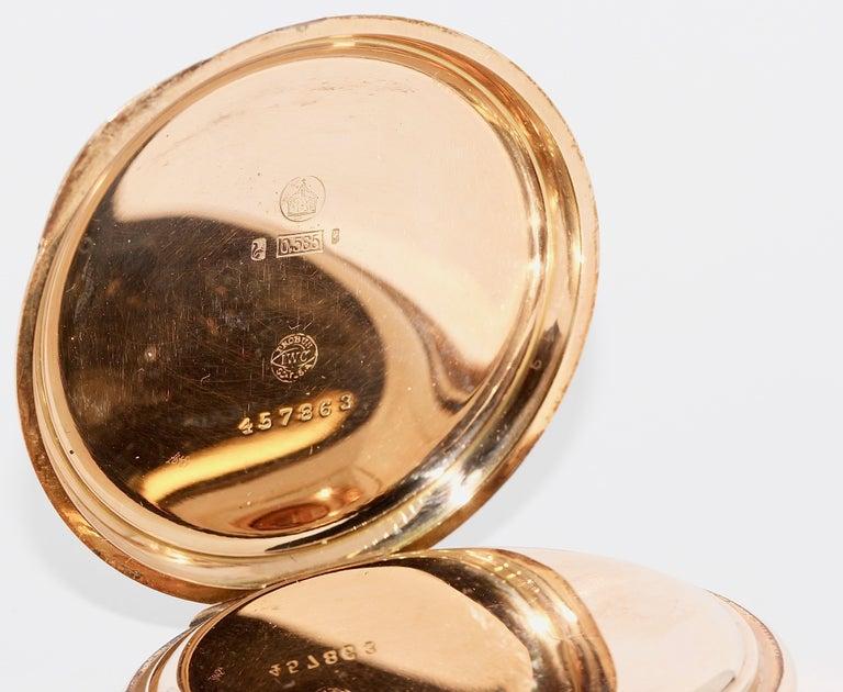 Antique, Historical IWC Hunter Pocket Watch, 14 Karat Yellow Gold For Sale 4