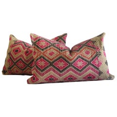 Antique Hmong Tribal Fabric Lumbar Pillows