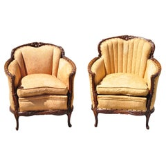 Antique Hollywood Regency French His & Hers Carved Mahogany Club Chairs - a Pair