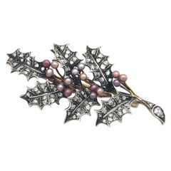 Antique Holy Berry Branch Color Pearls Diamonds Gold Silber Brooch