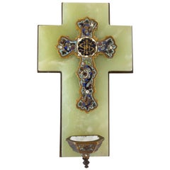 Antique Holy Water Font Crucifix Champleve Onyx French Napoleon III