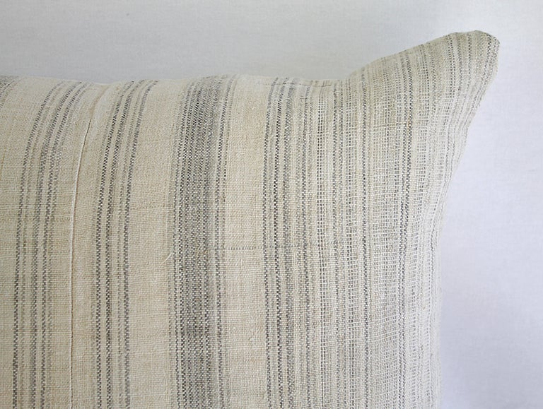 European Antique Homespun Linen and Striped Grain Sack Pillow For Sale