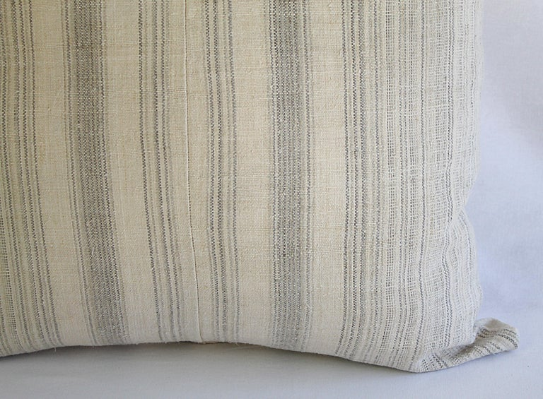 19th Century Antique Homespun Linen and Striped Grain Sack Pillow For Sale