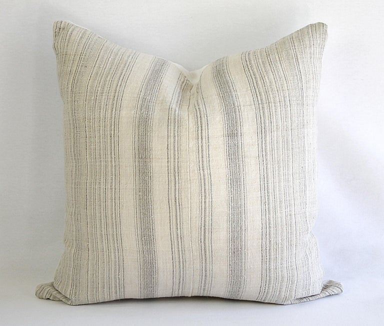 Antique Homespun Linen and Striped Grain Sack Pillow For Sale 1