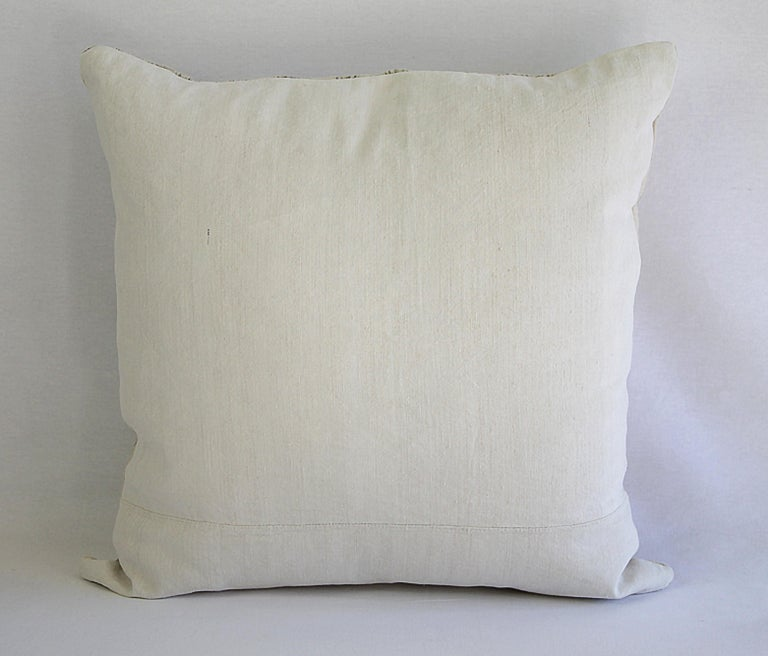 Antique Homespun Linen and Striped Grain Sack Pillow For Sale 2