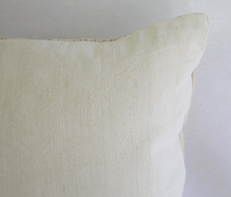 Antique Homespun Linen and Striped Grain Sack Pillow For Sale 4