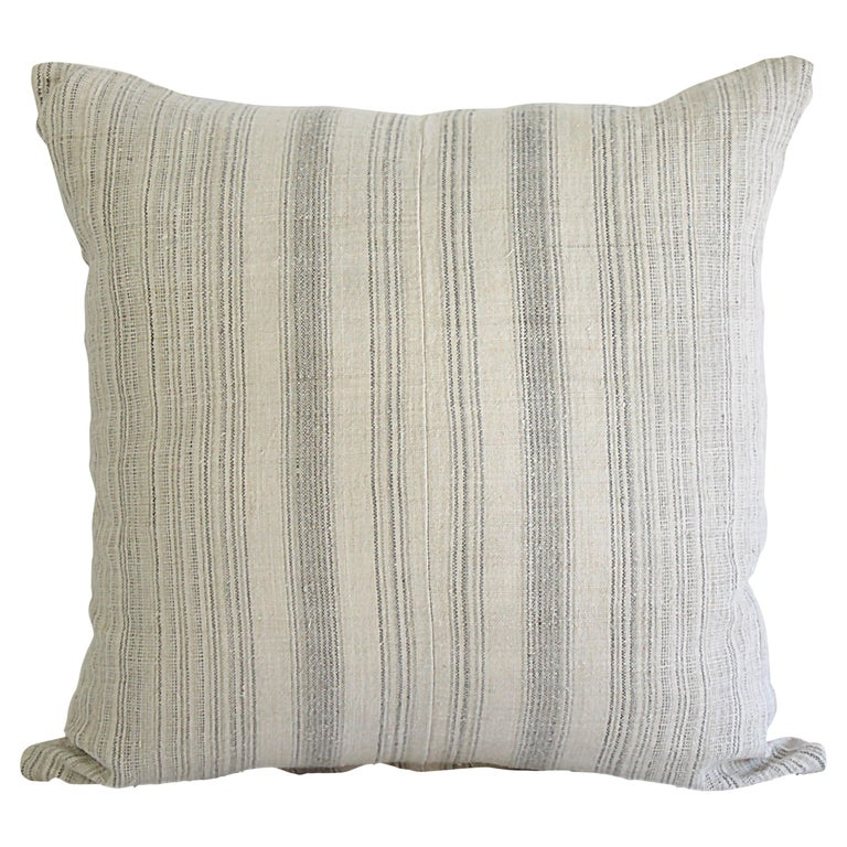 Antique Homespun Linen and Striped Grain Sack Pillow For Sale