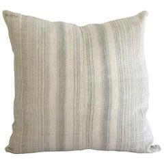 Antique Homespun Linen and Striped Grain Sack Pillow