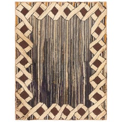 Antique Hooked American Rug. Size: 2 ft 10 in x 3 ft 9 in (0.86 m x 1.14 m)