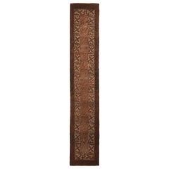 Antique Hooked Brown and Green Wool Floral Runner