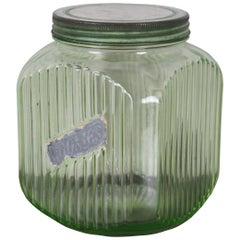 Antique Hoosier Uranium Glass Cookie Biscuit Jar Canister Vaseline Depression