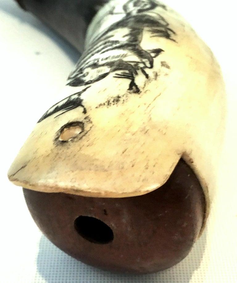 Antique Horn Carved Scrimshaw Powder Horn Flask For Sale 1