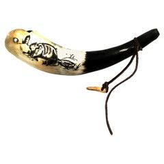 Antique Horn Carved Scrimshaw Powder Horn Flask