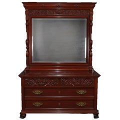 Antique Horner School Carved Mahogany Chest of Drawers and Mirror, circa 1900