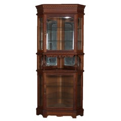 Antique Horner School Carved Oak Corner China Corner Cabinet, circa 1900