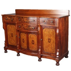 Antique Horner School Inlaid Mahogany and Burl Foliate Marquetry Sideboard