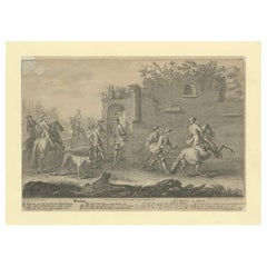 Antique Horse Print of a Redopp/Terre à Terre Training by Ridinger, 1722
