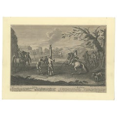 Antique Horse Print of 'Gallop' by Probst, 1722